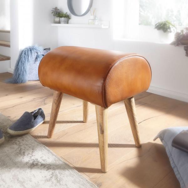 WOHNLING Sitzhocker Echtleder / Massivholz 45 x 53 x 40 cm