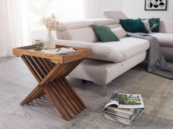 WOHNLING Beistelltisch MUMBAI Massivholz Sheesham Design Klapptisch Serviertablett und Tisch-Gestell