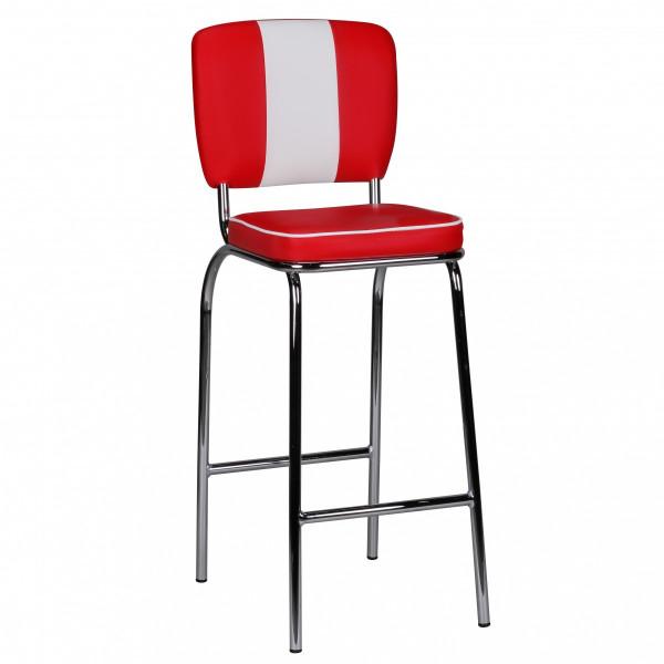 Wohnling Barstuhl American Diner 50er Jahre Retro Rot Weiß