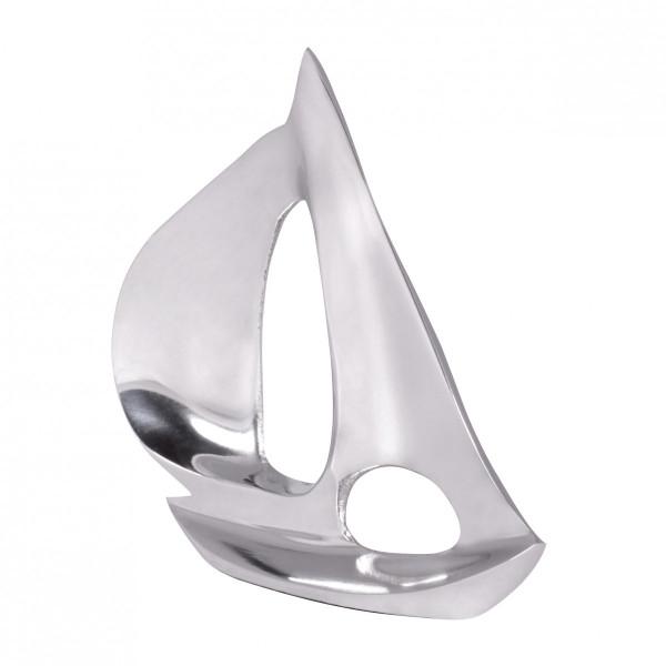 WOHNLING Deko Design Segelboot S Aluminium Segelyacht Silber