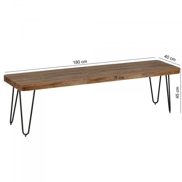 WOHNLING Esszimmer BAGLI Sitzbank Massiv-Holz Sheesham 180 x 45 x 40 cm