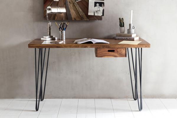WOHNLING Schreibtisch BAGLI braun Massiv Holz Laptoptisch Sheesham Natur