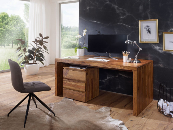 WOHNLING Schreibtisch BOHA Massiv-Holz Sheesham Computertisch 180 cm breit
