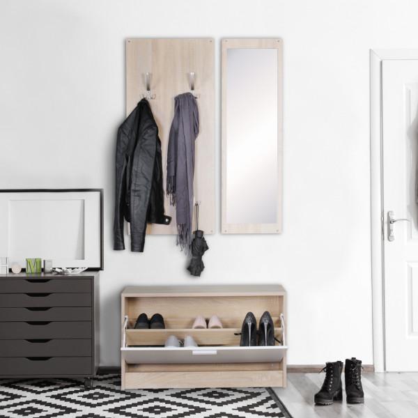 WOHNLING Wand-Garderobe JANA mit Spiegel & Schuhschrank Spanplatte sonoma