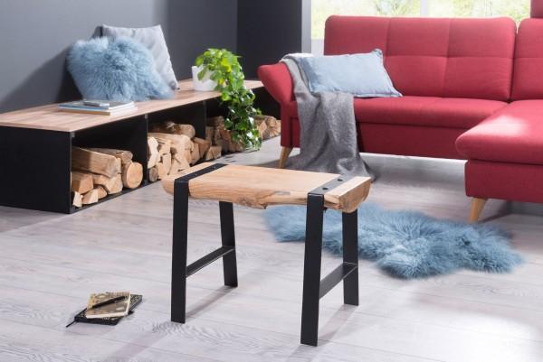 WOHNLING Design Sitzhocker 60 x 45 x 28 cm Vollholz Akazie Hocker   Holzhocker