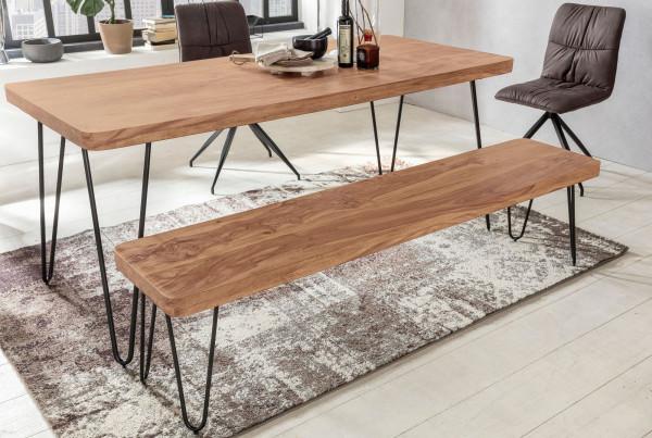 WOHNLING Esszimmer Sitzbank BAGLI Massiv-Holz Akazie 120 x 45 x 40 cm