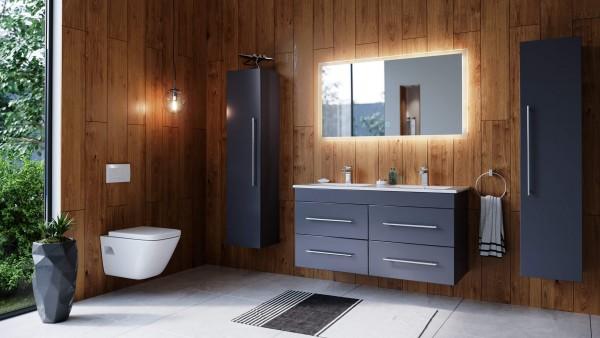 Posseik Badmöbelset Argos 120 cm 4 tlg. anthrazit seidenglanz inkl. LED Spiegel