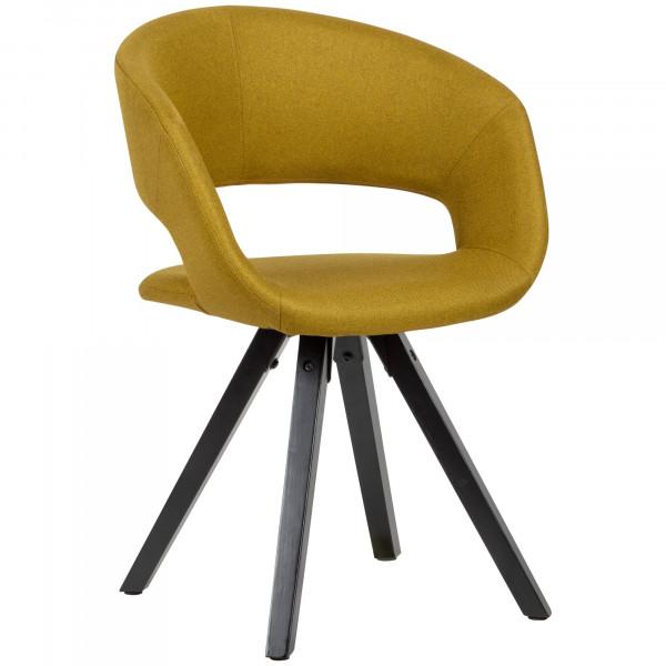 WOHNLING Esszimmerstuhl Curry Stoff mit schwarzen Beinen Retro Stuhl