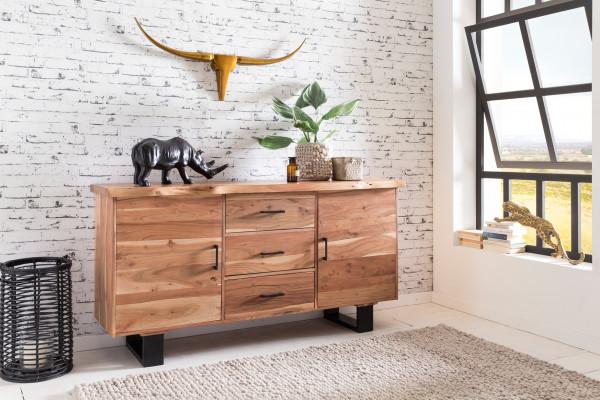 WOHNLING Sideboard GAYA Massiv-Holz Akazie Natur Baumkante Anrichte | Landhaus-Stil