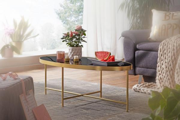 WOHNLING Design Couchtisch Glas Schwarz - Oval 110 x 56 cm mit Gold Metallgestell