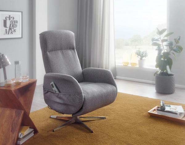 WOHNLING Relaxsessel mit Massagefunktion Hellgrau Stoff Ruhesessel Elektrisch Verstellbar
