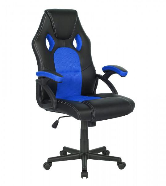 Bürostuhl Kunstleder schwarz mit Netzeinsatz blau