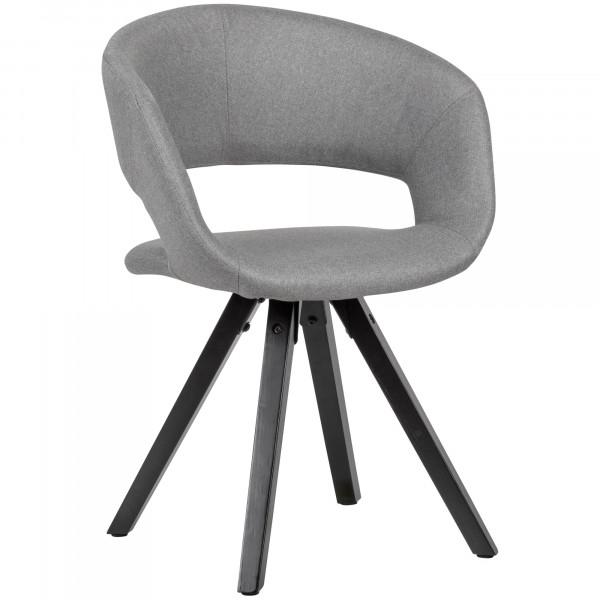 WOHNLING Esszimmerstuhl Hellgrau Stoff mit schwarzen Beinen Retro Stuhl