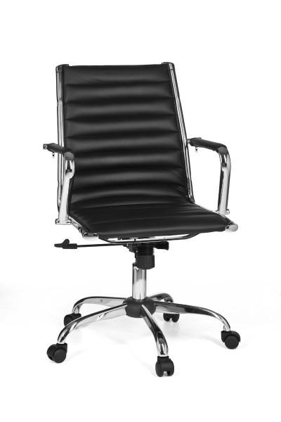 AMSTYLE Bürostuhl GENF 2 Bezug Kunstleder Schreibtischstuhl Schwarz 110 kg Chefsessel
