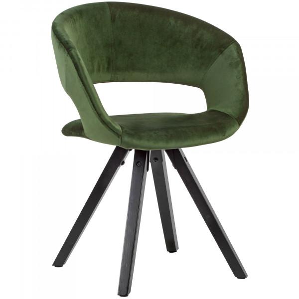 WOHNLING Esszimmerstuhl Samt Grün mit schwarze Beine Modern