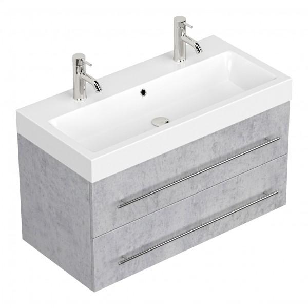 Posseik Doppelwaschtisch Livono mit Unterschrank 100 cm beton
