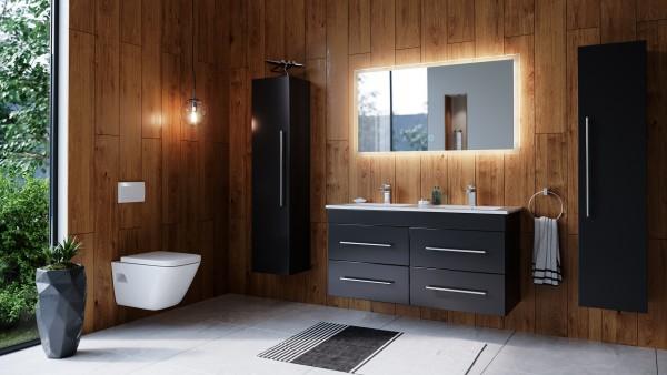 Posseik Badmöbelset Argos 120 cm schwarz seidenglanz inkl. LED Spiegel mit Touch-Funktion