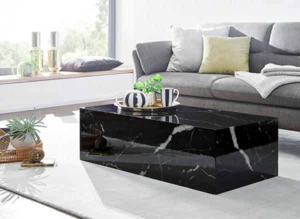 WOHNLING Couchtisch 100x30x50 cm MDF Hochglanz mit Marmor Optik Schwarz