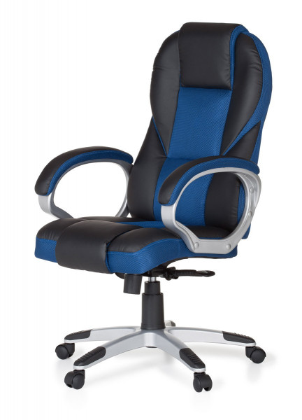 Amstyle Bürostuhl RACE Blau Gaming Chefsessel mit Armlehne Racer Sportsitz Drehstuhl Kopfstütze