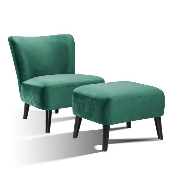 Sessel und Hocker Retro Samt seegrün Hevea Holz