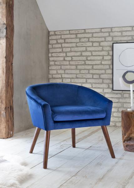 Sessel blau Samt mit Armlehnen