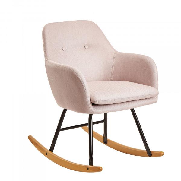 WOHNLING Schaukelstuhl Rosa Design Relaxsessel Malmo-Stoff / Holz
