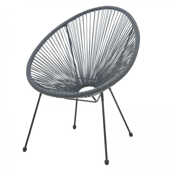 MÖBILIA Stuhl, 2er-Set runde Sitzschale grau, Gartenstuhl, Indoor- und Outdoor Sessel