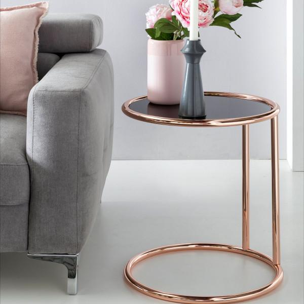 WOHNLING Design Beistelltisch Metall Glas 45 cm Schwarz / Kupfer | Wohnzimmertisch verspiegelt