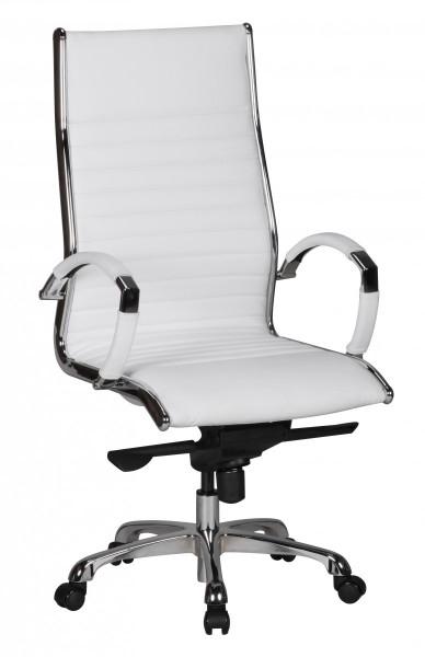 AMSTYLE Bürostuhl SALZBURG 1 Bezug Echtleder Weiß Schreibtischstuhl XXL 120 kg Chefsessel