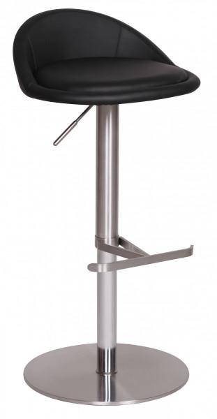 WOHNLING Barhocker Schwarz Edelstahl höhenverstellbare Sitzhöhe 54-79 cm