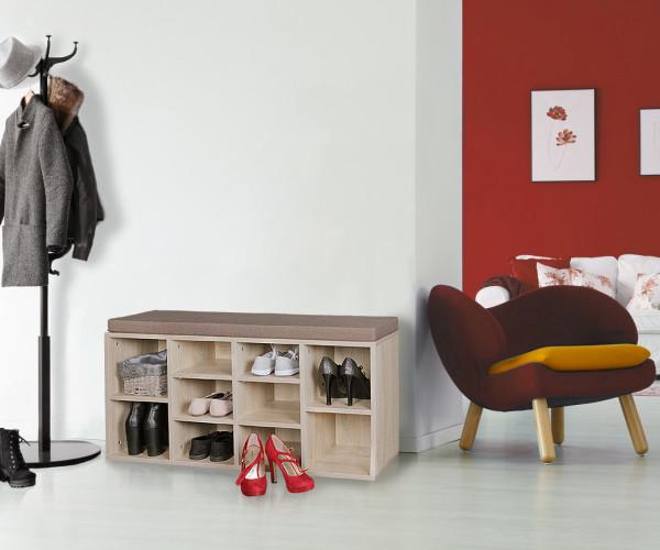WOHNLING Schuhbank mit Sitzauflage LAURA sonoma Flurbank | Sitzbank mit Regalfäch