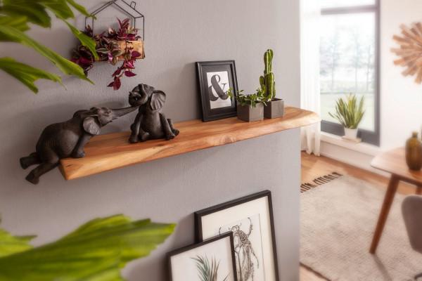 WOHNLING Wandregal mit Baumkante Akazie Massivholz 80 cm Unbehandelt