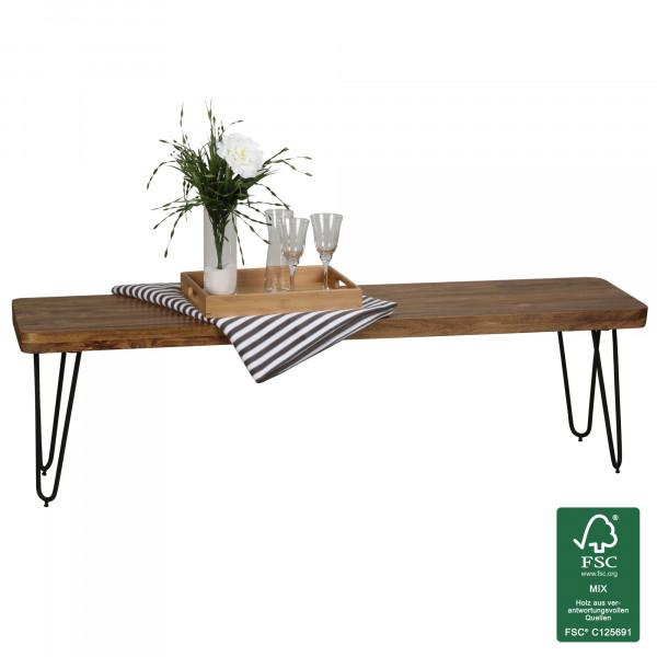 WOHNLING Esszimmer Sitzbank BAGLI Massiv-Holz Sheesham 160 x 45 x 40 cm