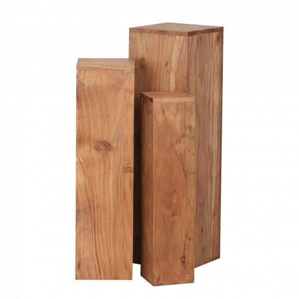 WOHNLING Beistelltisch 3er Set Massivholz