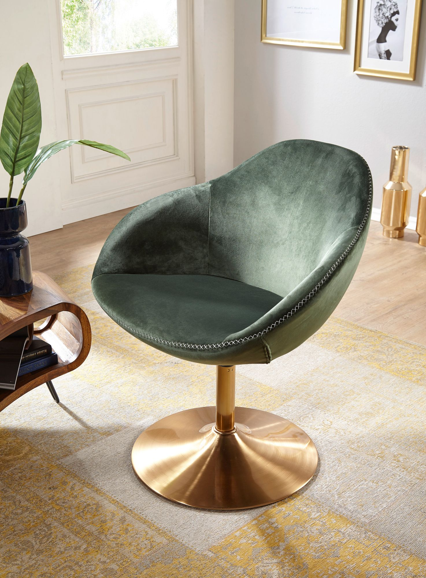 Wohnling Loungesessel Sarin Samt Grun Gold 70x79x70 Cm Design Drehstuhl
