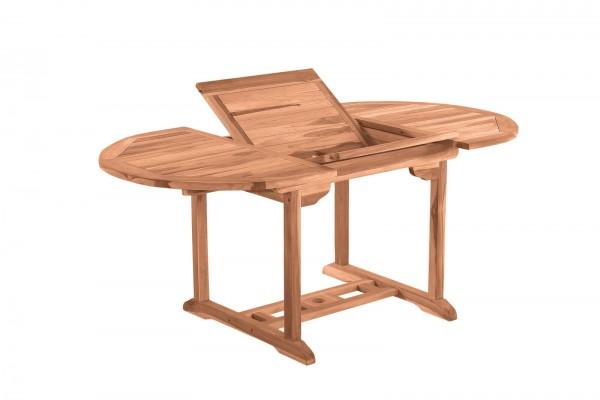 MÖBILIA Gartentisch, 120 cm rund, ausziehbar, Teak-Holz mit Schmetterlingsauszug, auf 170 cm auszieh