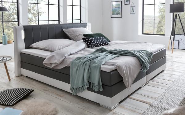 Boxspringbett 180 x 200 cm LED grau/weiß Kunstleder