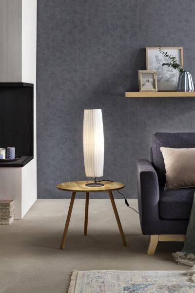 Tischlampe 60 cm rund weiß chrom