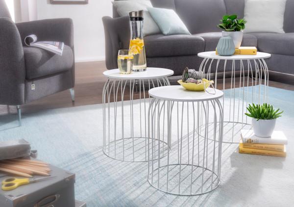 WOHNLING Design Beistelltisch 3er Set aus Körben Couchtisch Weiß