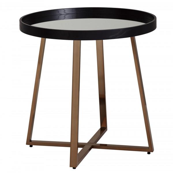 WOHNLING Design Beistelltisch Rund Ø58,5 cm Gold mit Glas Spiegel | Wohnzimmertisch Schwarz