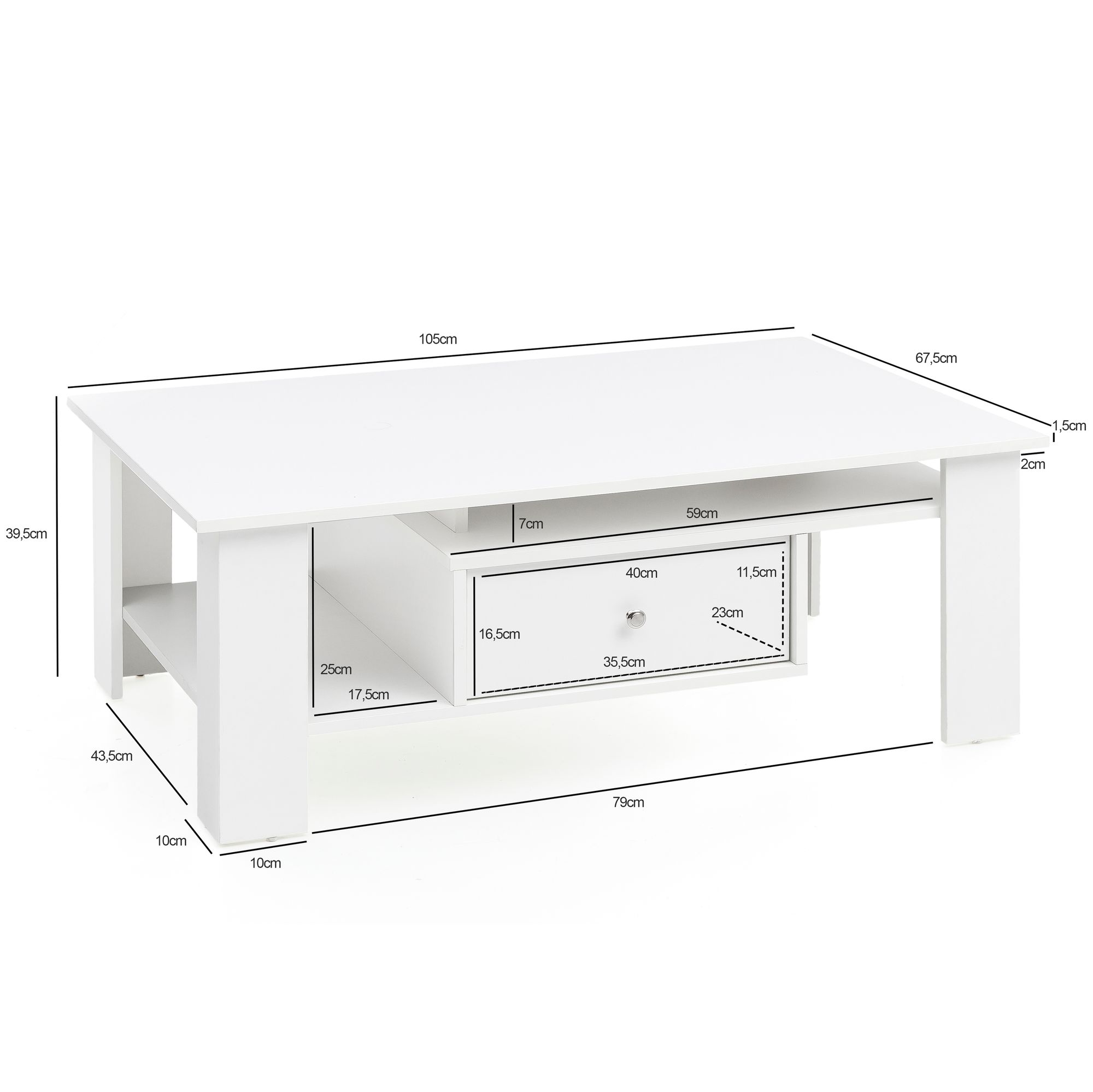 Wohnling Design Couchtisch Liva 105x39 5x67 5 Cm Weiss Matt