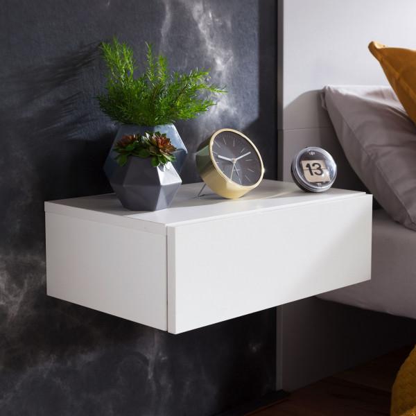 WOHNLING Nachtkonsole DREAM für Wandmontage Weiß Nachttisch Holz