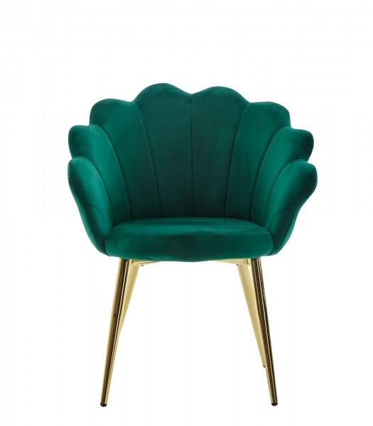 WOHNLING Esszimmerstuhl Tulpe Samt Grün Gepolstert mit Stoffbezug Küchenstuhl