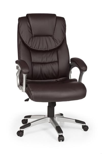AMSTYLE Bürostuhl MADRID Kunstleder Braun ergonomisch mit Kopfstütze Design Chefsessel