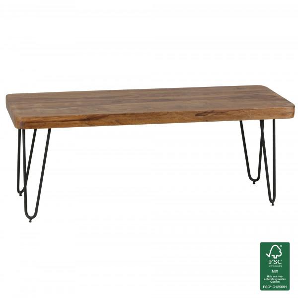 WOHNLING Esszimmer Sitzbank BAGLI Massiv-Holz Sheesham 120 x 45 x 40 cm