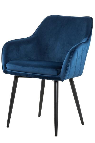 Esszimmerstuhl mit Armlehne blau Samt