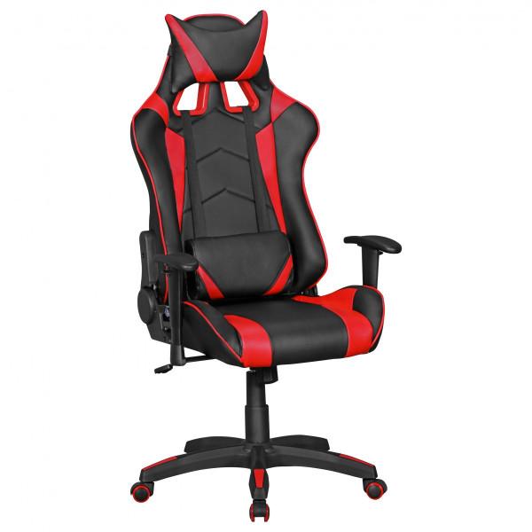 AMSTYLE® SCORE - Gaming Chair aus Kunstleder in Schwarz/Rot | Schreibtisch-Stuhl in Leder-Optik
