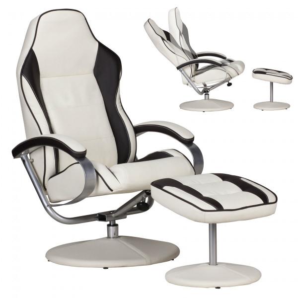 AMSTYLE Fernsehsessel SPORTING TV Design Relax-Sessel Racing Bezug Kunstleder creme / braun drehbar
