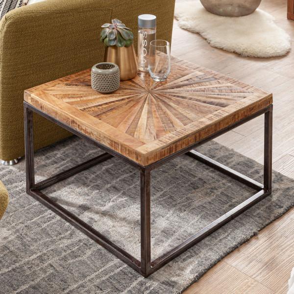WOHNLING Couchtisch Mango Massivholz 55x40x55 cm Tisch mit Metallgestell