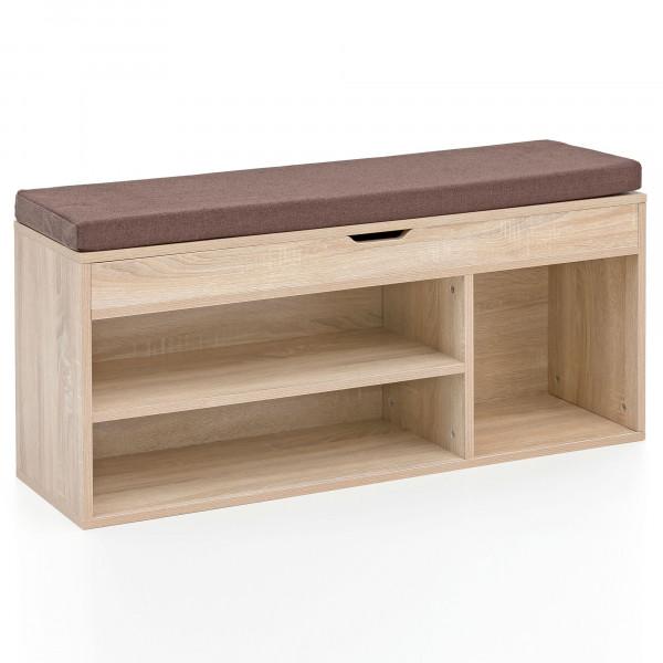 WOHNLING Schuhbank BABSI mit Sitzfläche Garderoben-Bank Holz 104x51x32 cm Sonoma